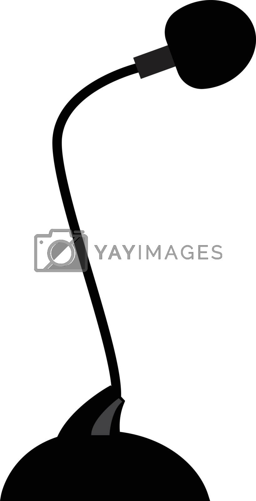 Black-colored cartoon microphone mounted on a stand is a device typically used in public events vector color drawing or illustration