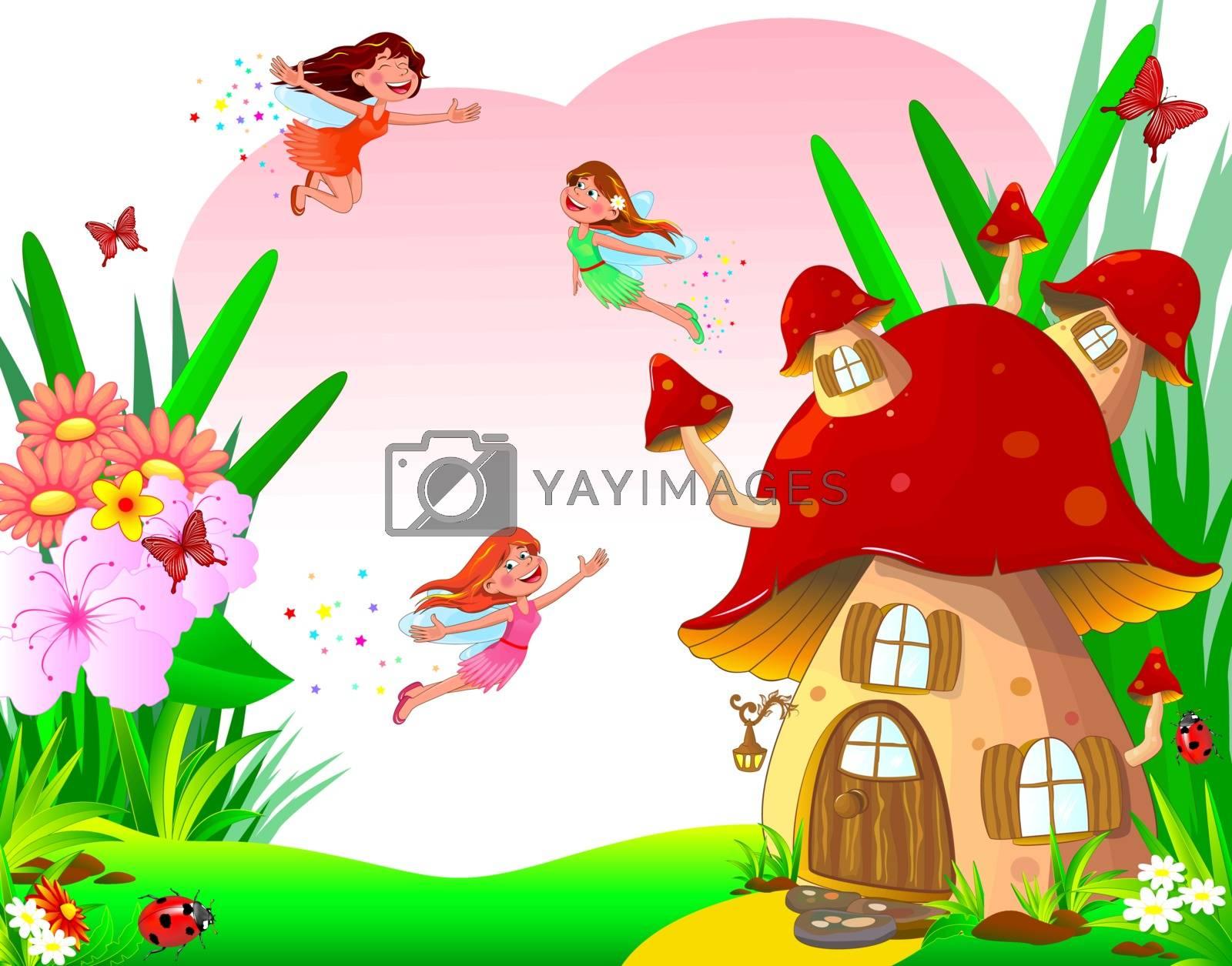 Happy little fairies fly among the flowers. Fairytale mushroom house, flowers, butterflies and ladybugs.