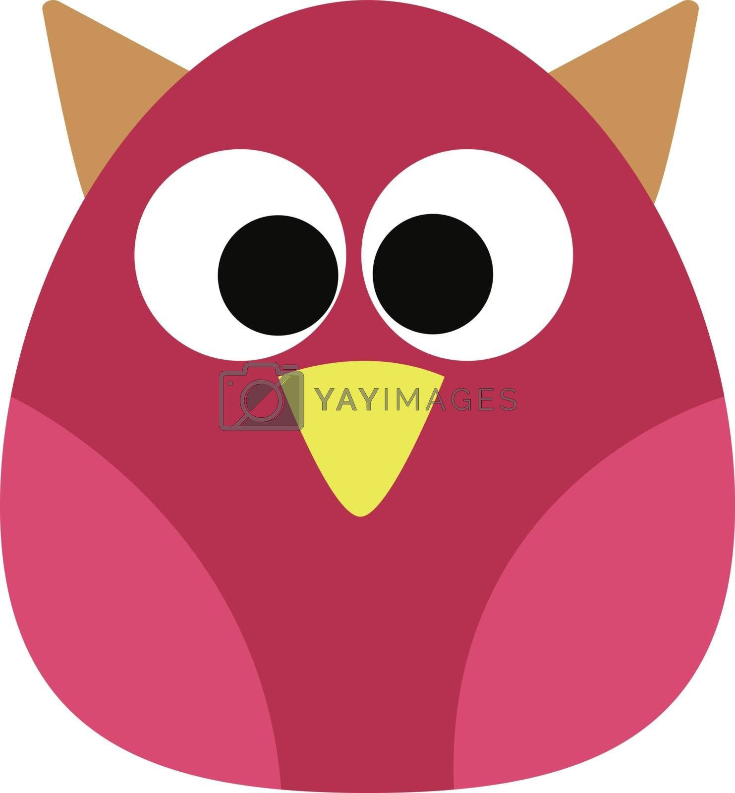 A beautiful pink owl with a tiny yellow beak vector color drawing or illustration