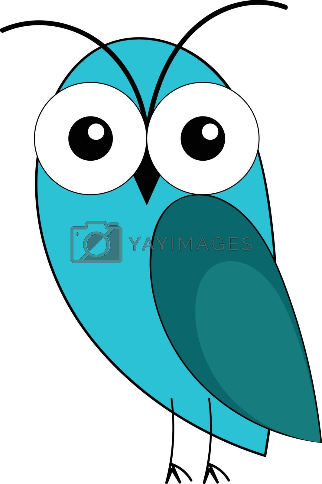 Painting of a blue owl with two swollen eyes  two black horns  stick-like feet  expresses sadness while standing  vector  color drawing or illustration