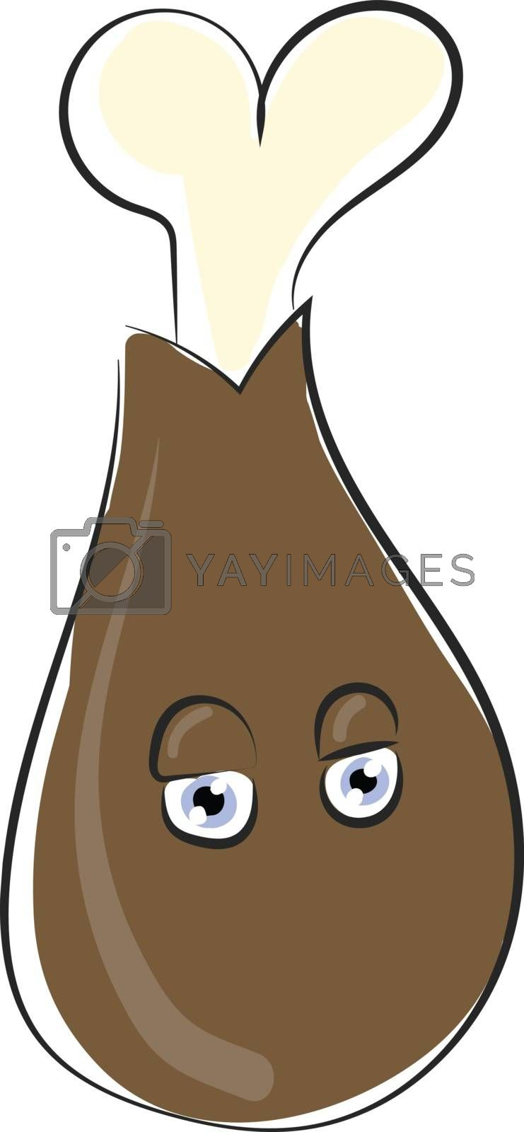 Royalty free image of Drawing of the emoji of a brown chicken drumstick vector or colo by Morphart