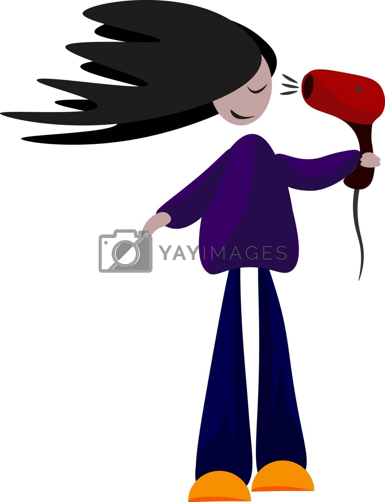 Royalty free image of Clipart of a girl drying her hair with the help of a red-colored by Morphart