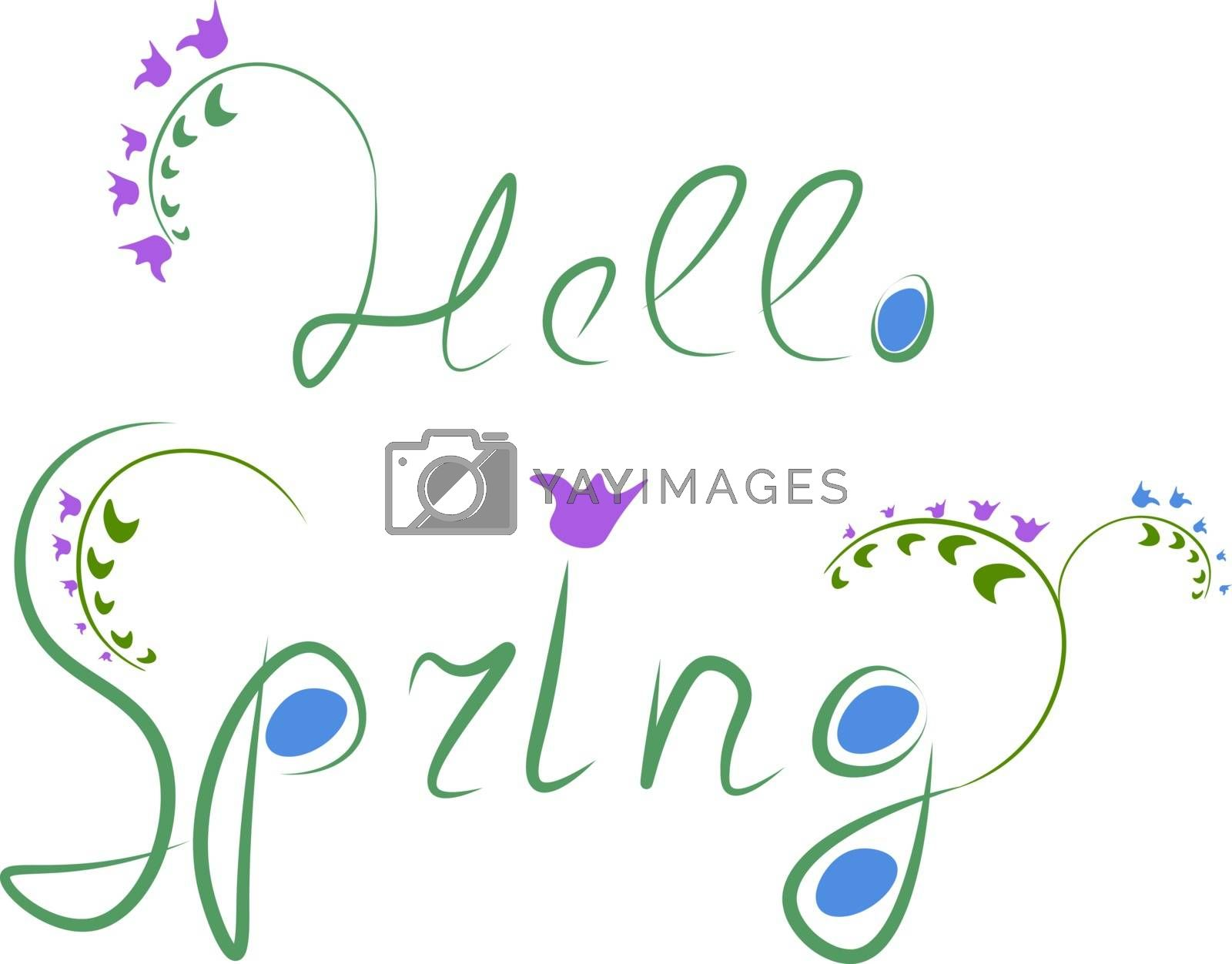 Royalty free image of Wording HELLO SPRING is written in color sketch vector or color  by Morphart