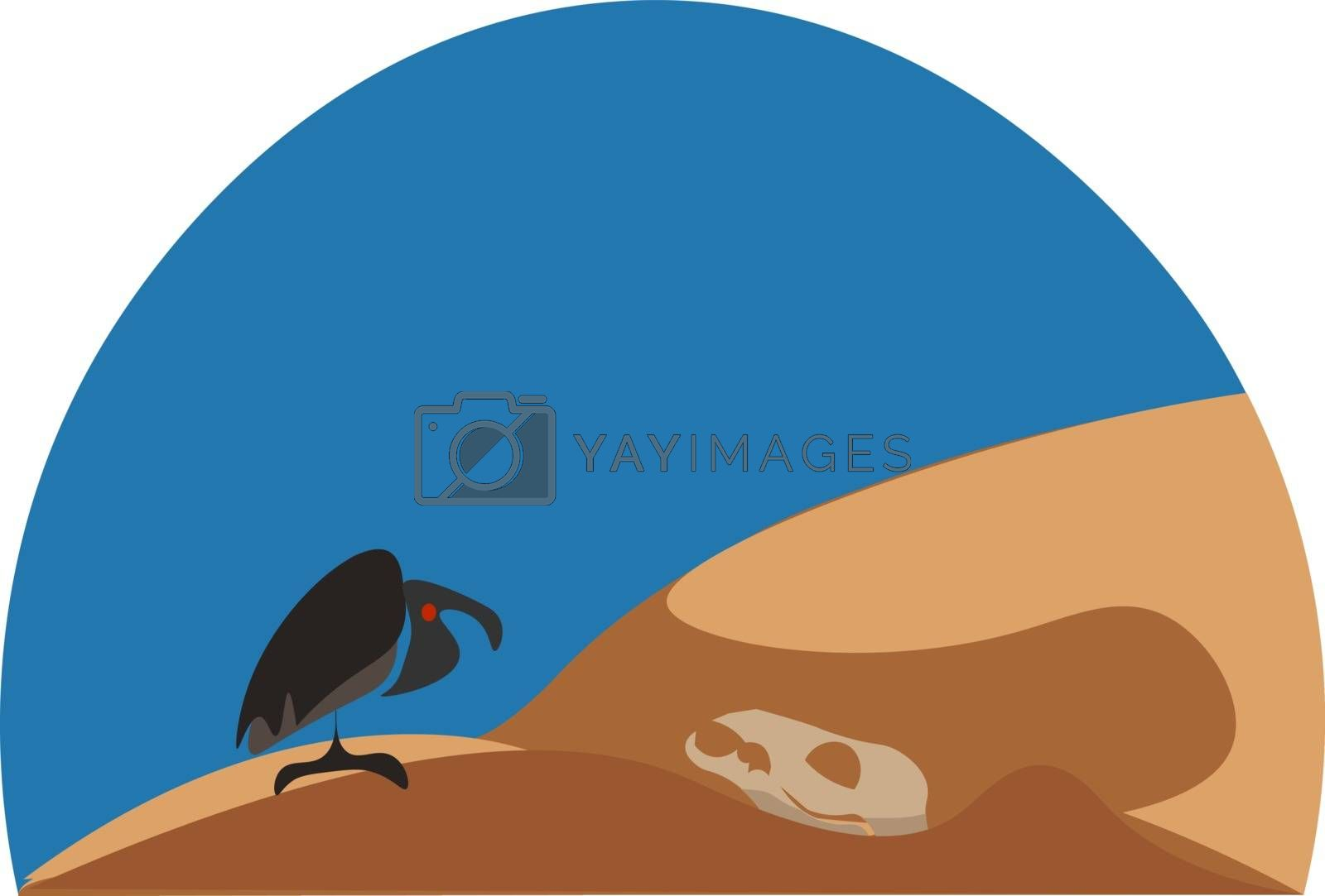 Royalty free image of Wild landscape with an eagle perched on the desert vector or col by Morphart