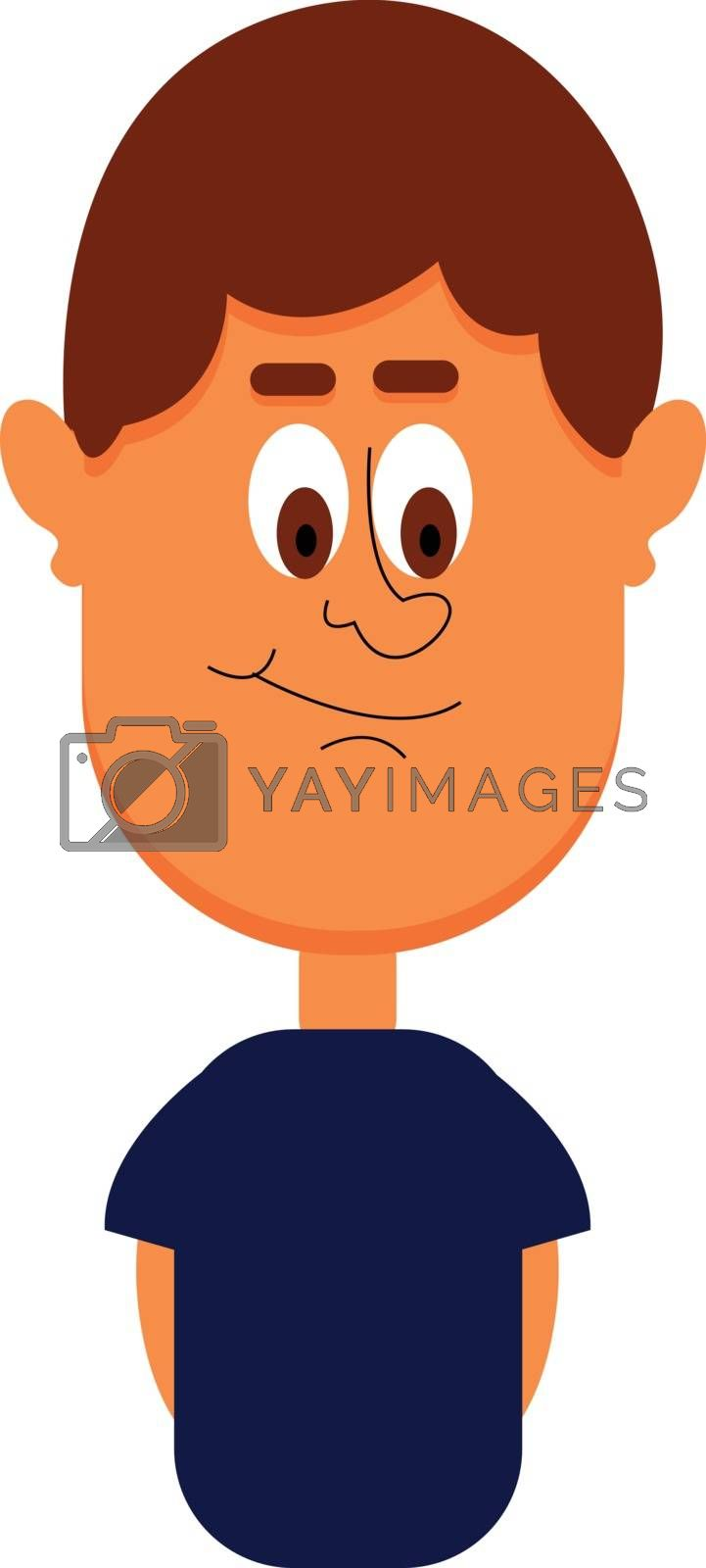Royalty free image of Funny-looking cartoon boy in a blue t-shirt vector or color illu by Morphart