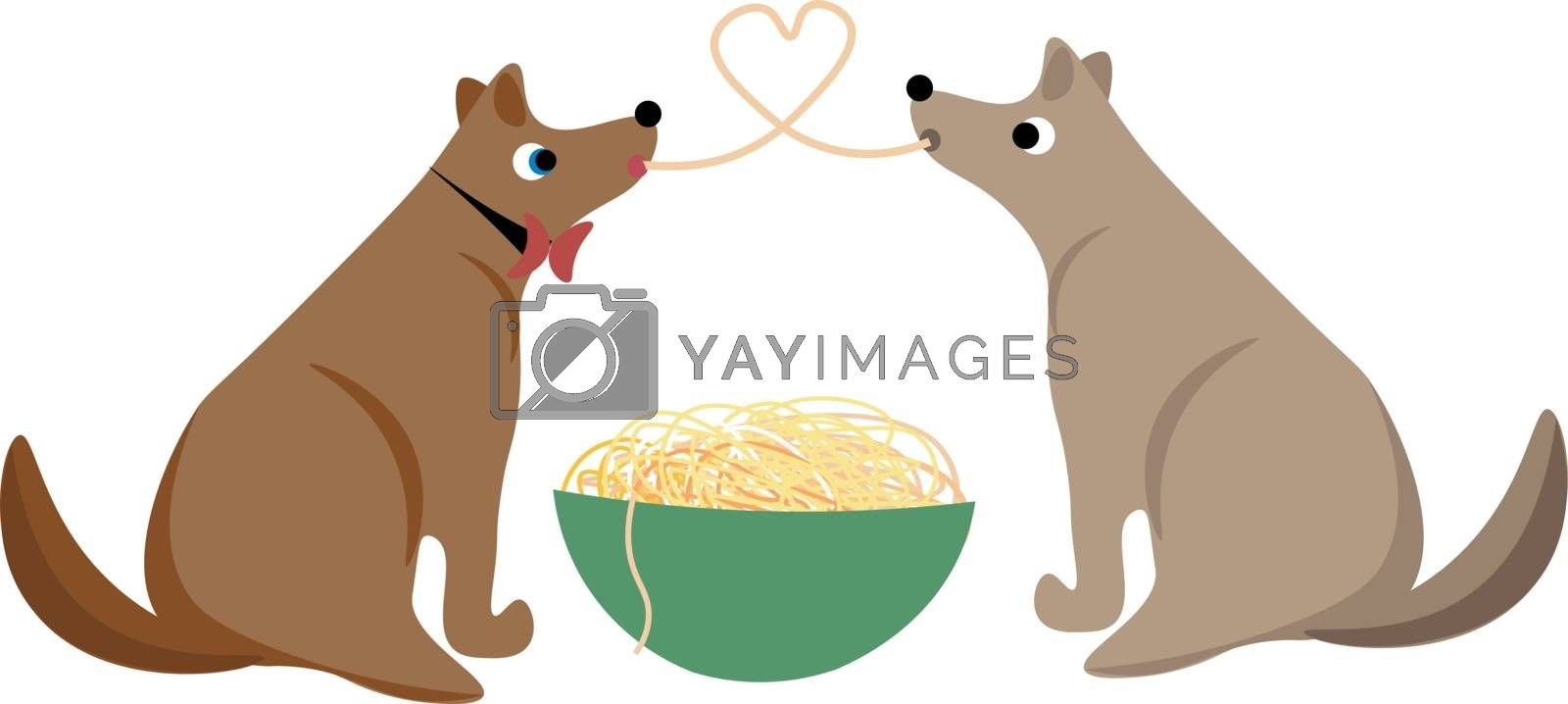 Royalty free image of Two dogs sharing spaghetti as they eat from the same giant bowl  by Morphart
