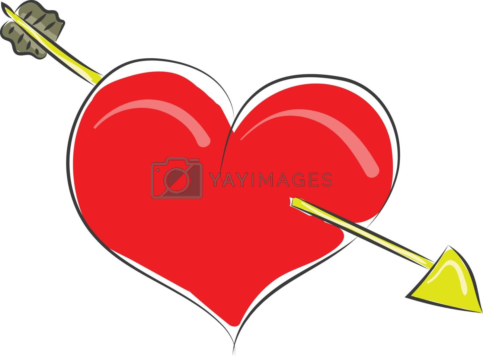 Royalty free image of Clipart of a red heart struck with an arrow vector or color illu by Morphart