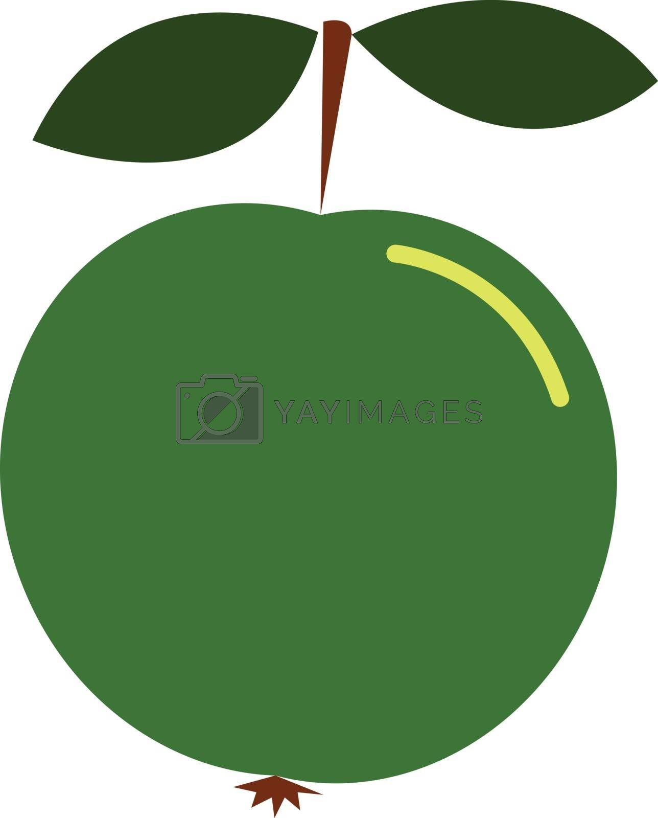 Royalty free image of Clipart of a green apple with a short brown stalk and two leaves by Morphart