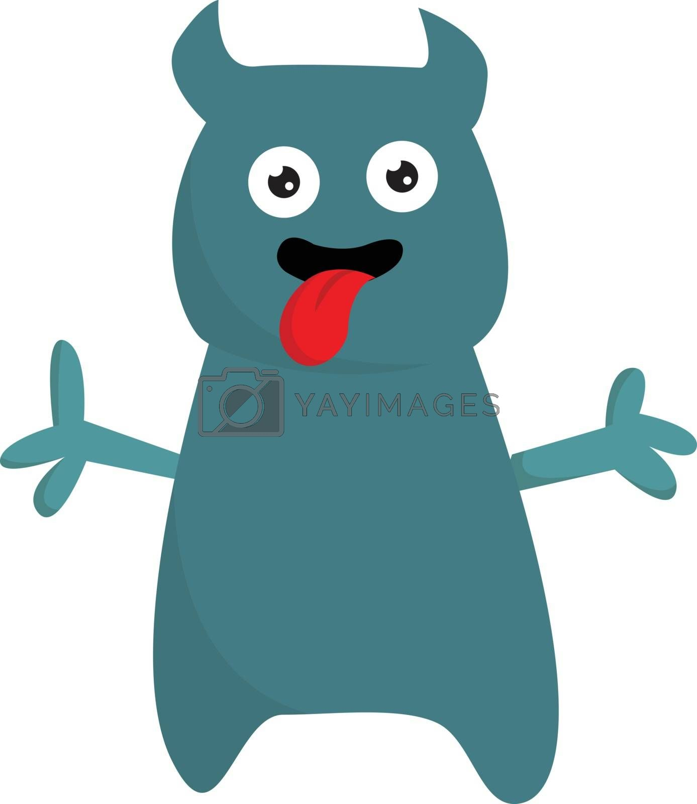 Royalty free image of Cartoon funny monster with tongue hanging out vector or color il by Morphart