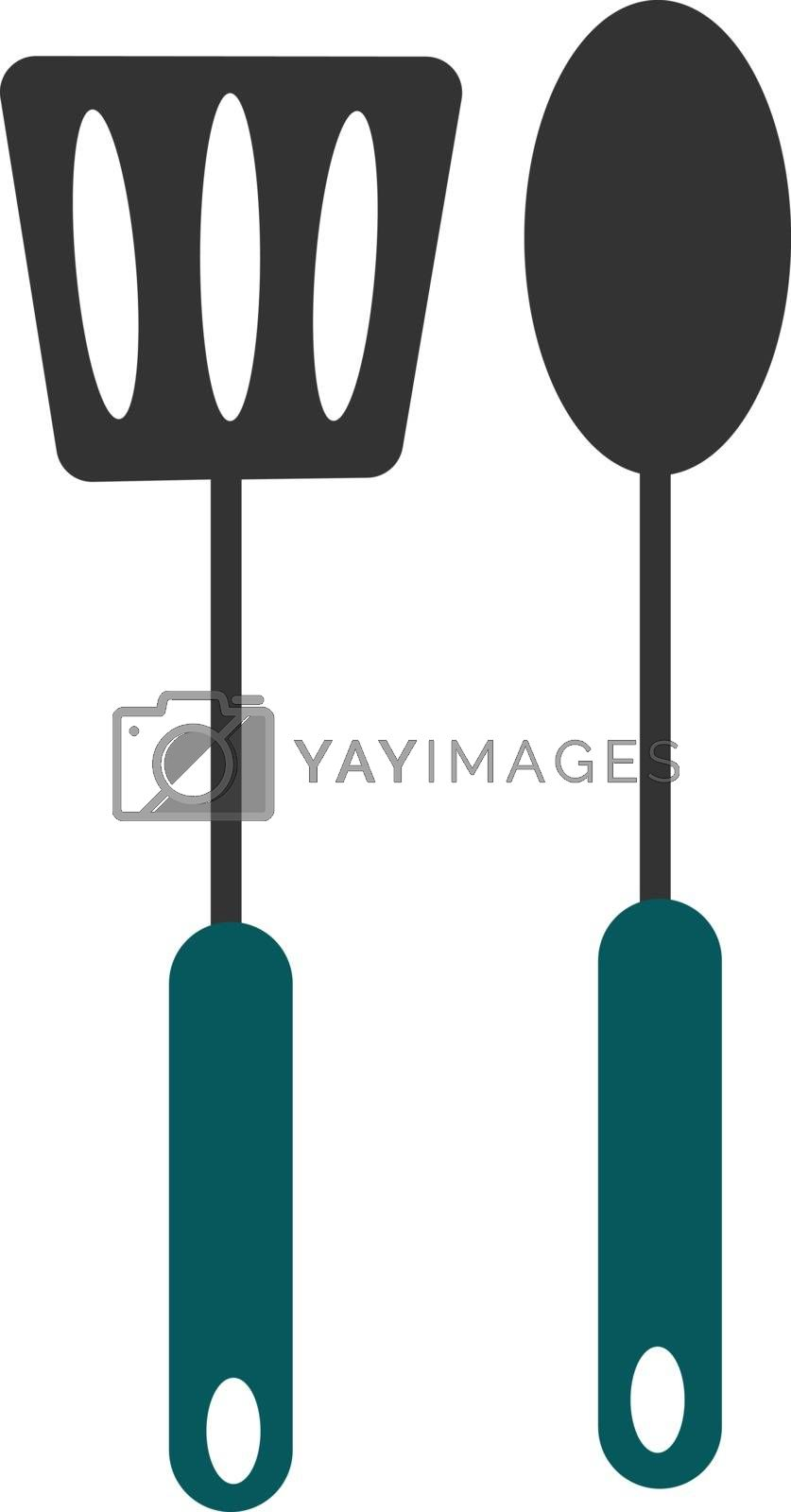 Royalty free image of Nylon slotted serving spoon and a spoon vector or color illustra by Morphart