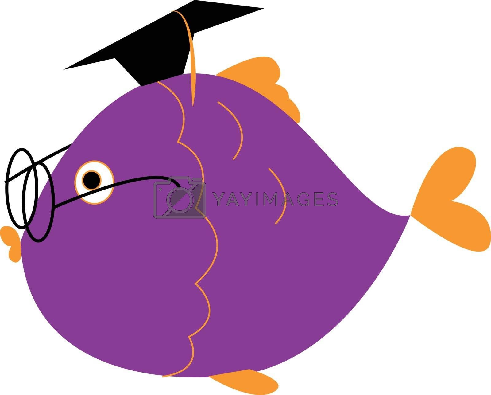 Royalty free image of Clipart of a graduated fish wearing spectacles and a black tasse by Morphart