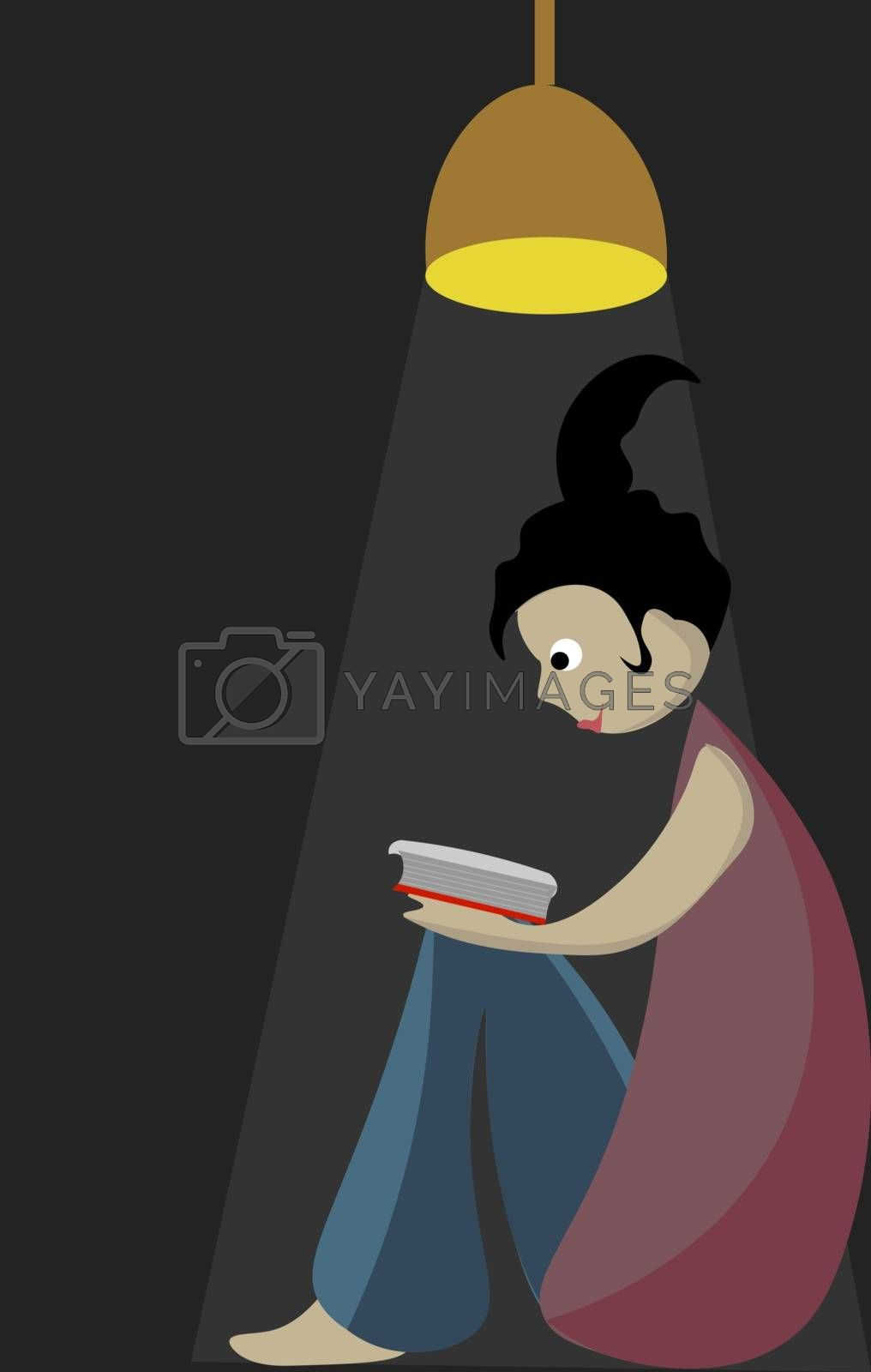 Royalty free image of Portrait of a girl reading a book vector or color illustration by Morphart