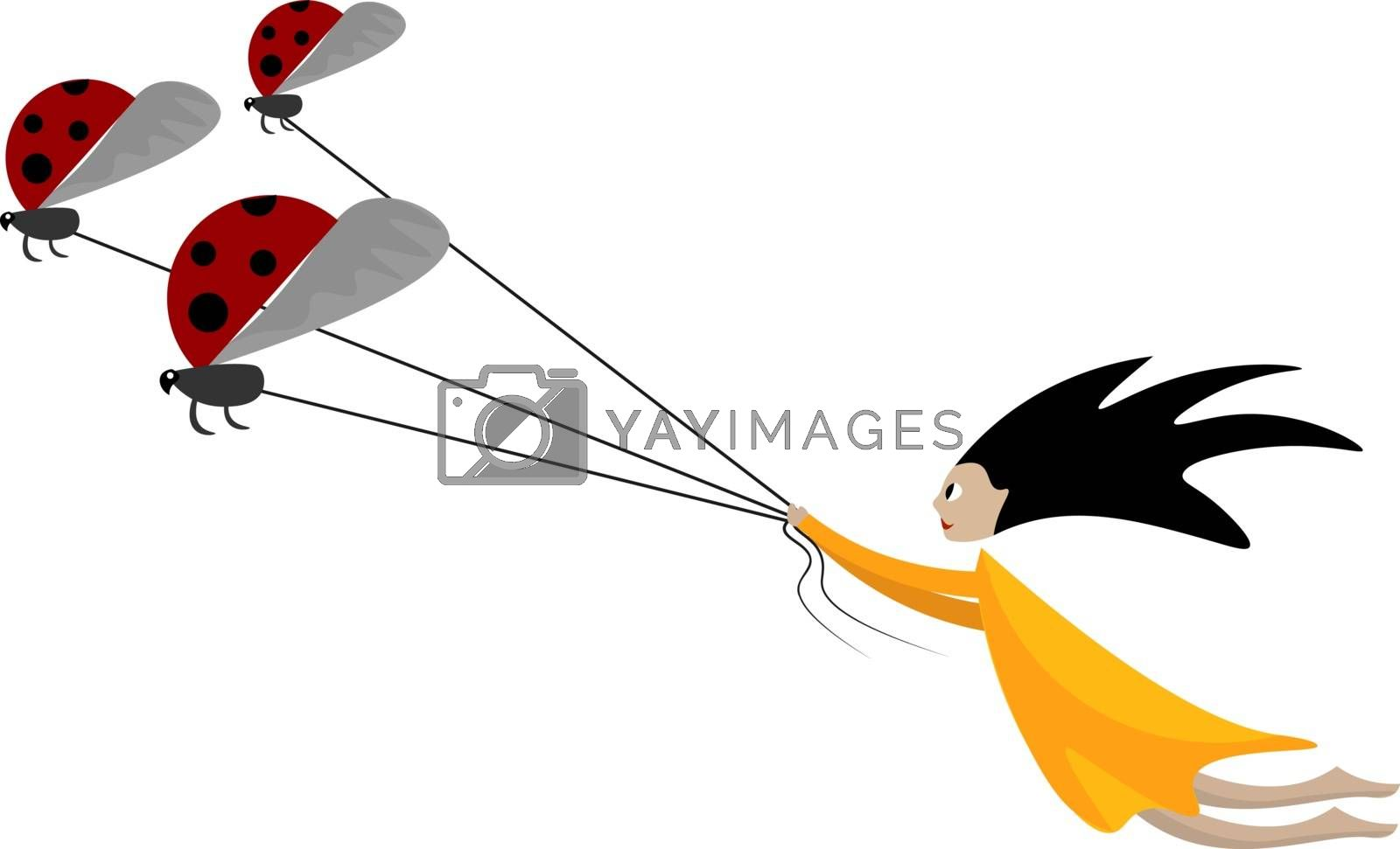 Royalty free image of Cartoon funny picture of a girl pulling the three ladybugs tied  by Morphart