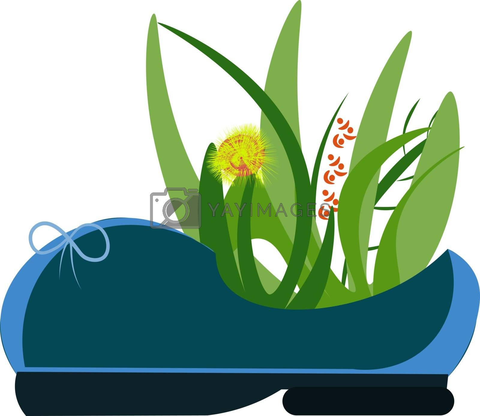 Royalty free image of Painting of a plant blossomed with flowers in a blue lady's shoe by Morphart