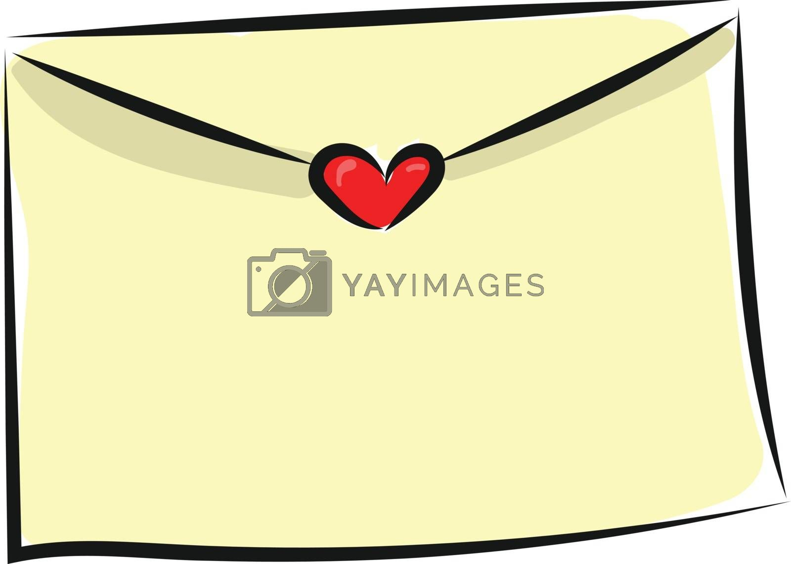 Royalty free image of Painting of a letter or envelope sealed with a red heart vector  by Morphart