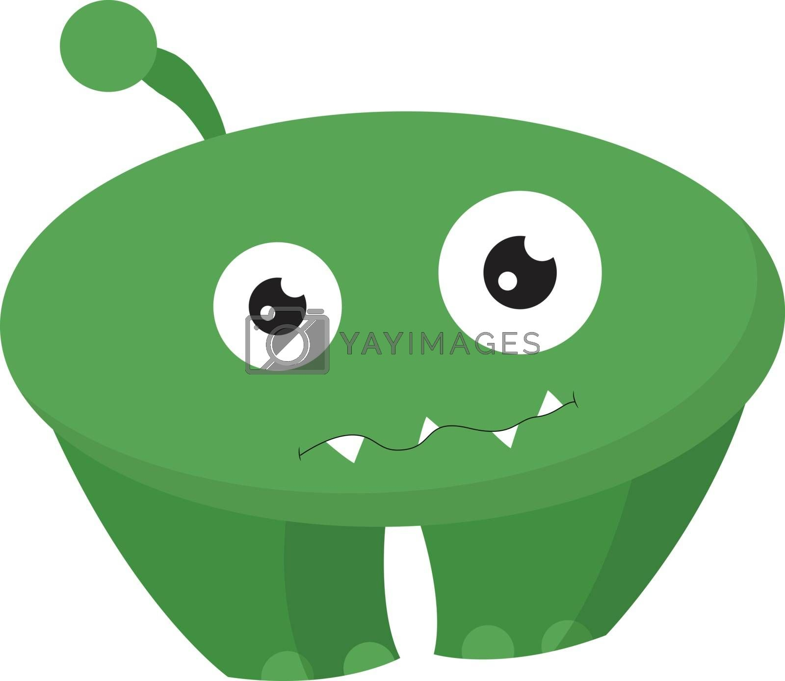 Royalty free image of Cartoon funny green monster with two eyes vector or color illust by Morphart