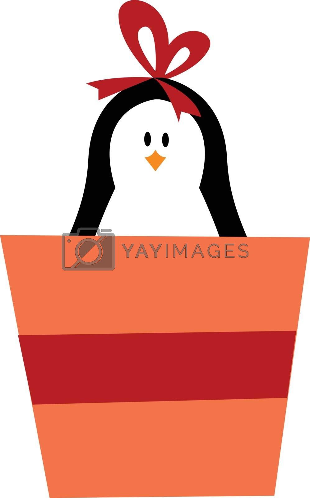 Royalty free image of Cute baby girl penguin carrying a gift box vector or color illus by Morphart
