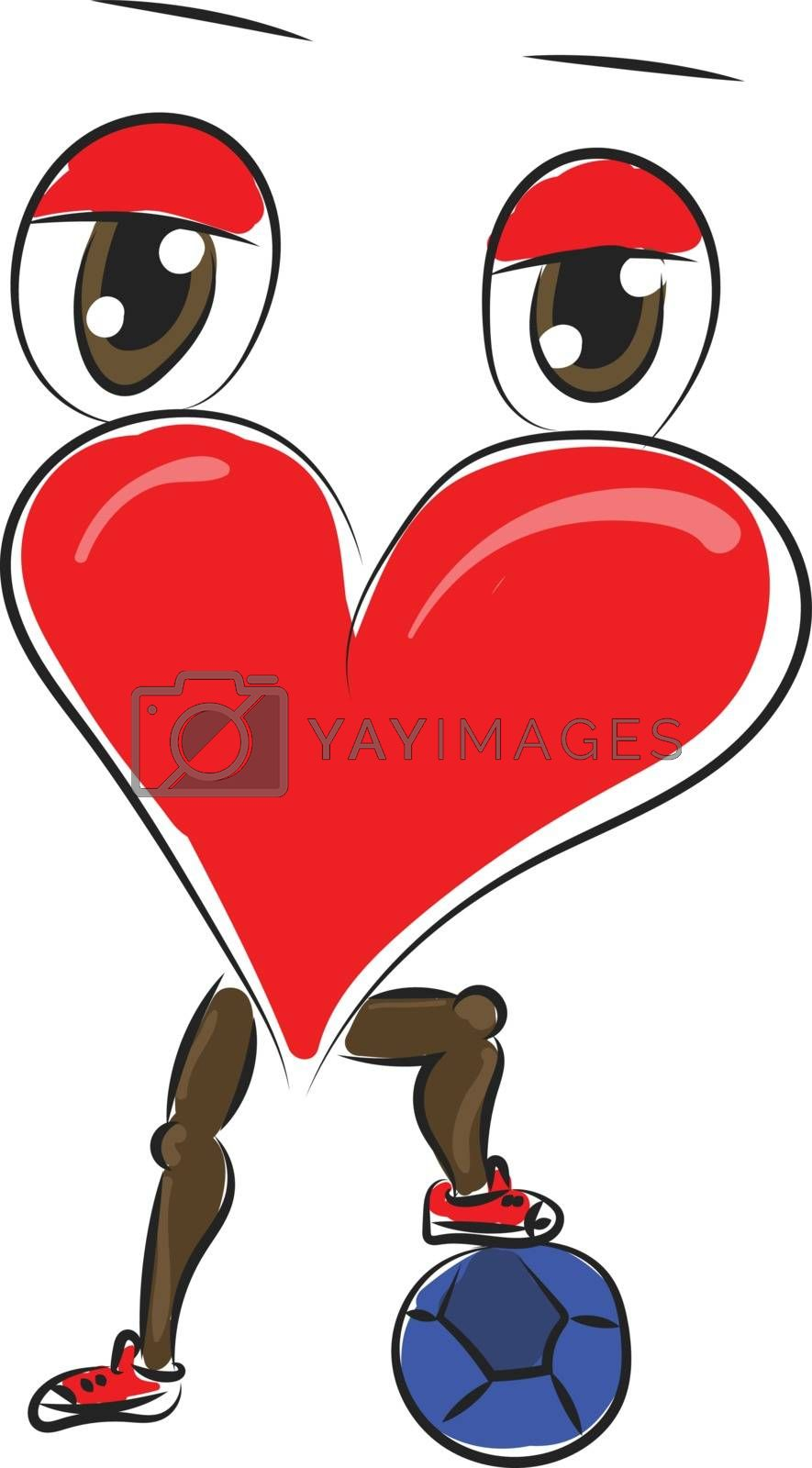Royalty free image of A heart with eyes and legs has placed his foot on a football vec by Morphart