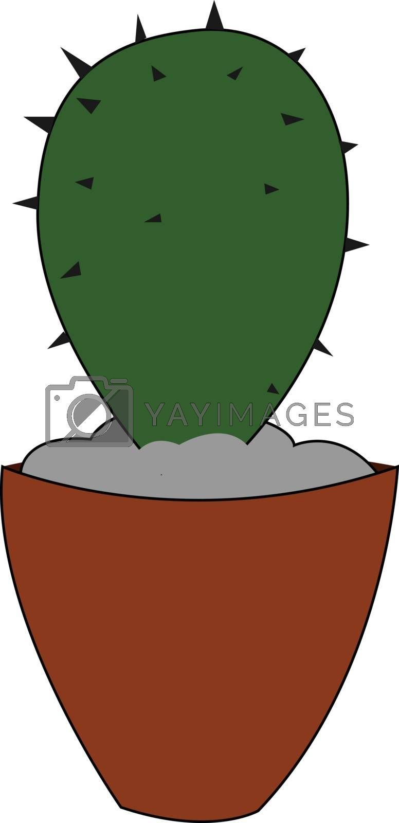 Royalty free image of Cartoon small cactus plant on an earthen pot vector or color ill by Morphart