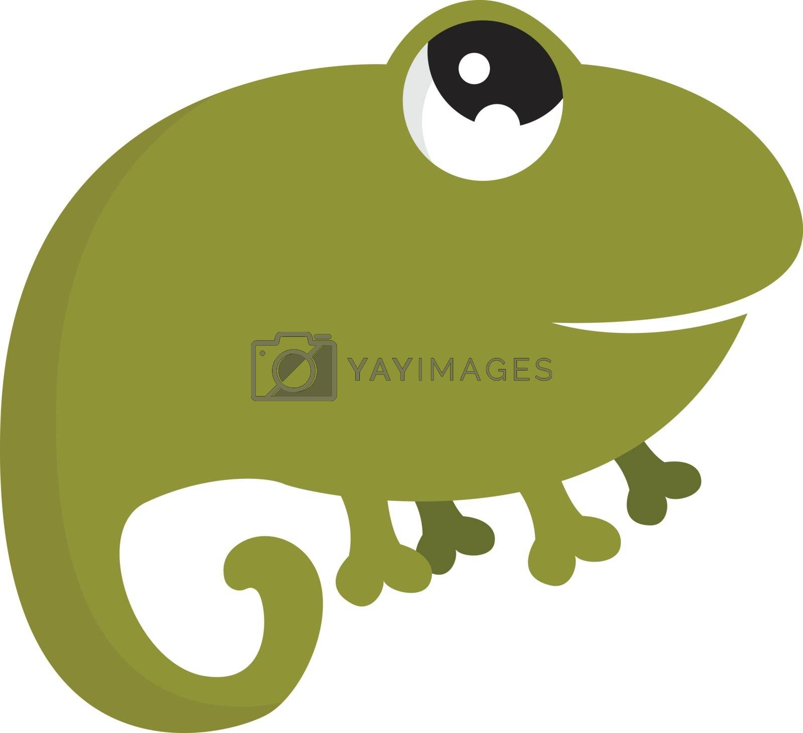 Royalty free image of Cartoon funny laughing green chameleon vector or color illustrat by Morphart