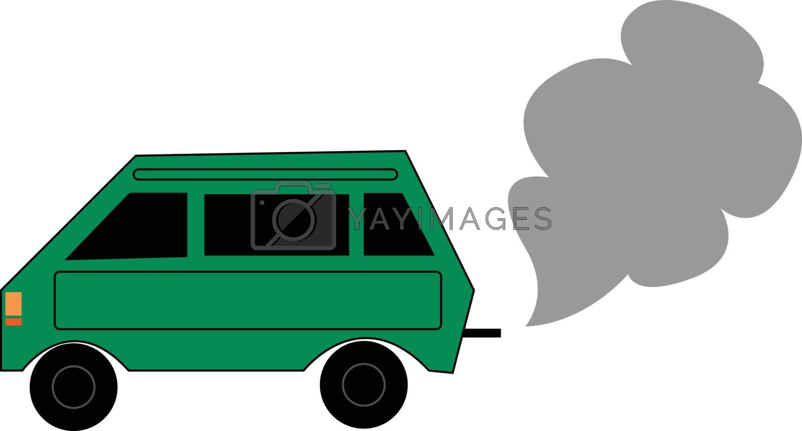 Royalty free image of Painting of a green car emitting smoke vector or color illustrat by Morphart