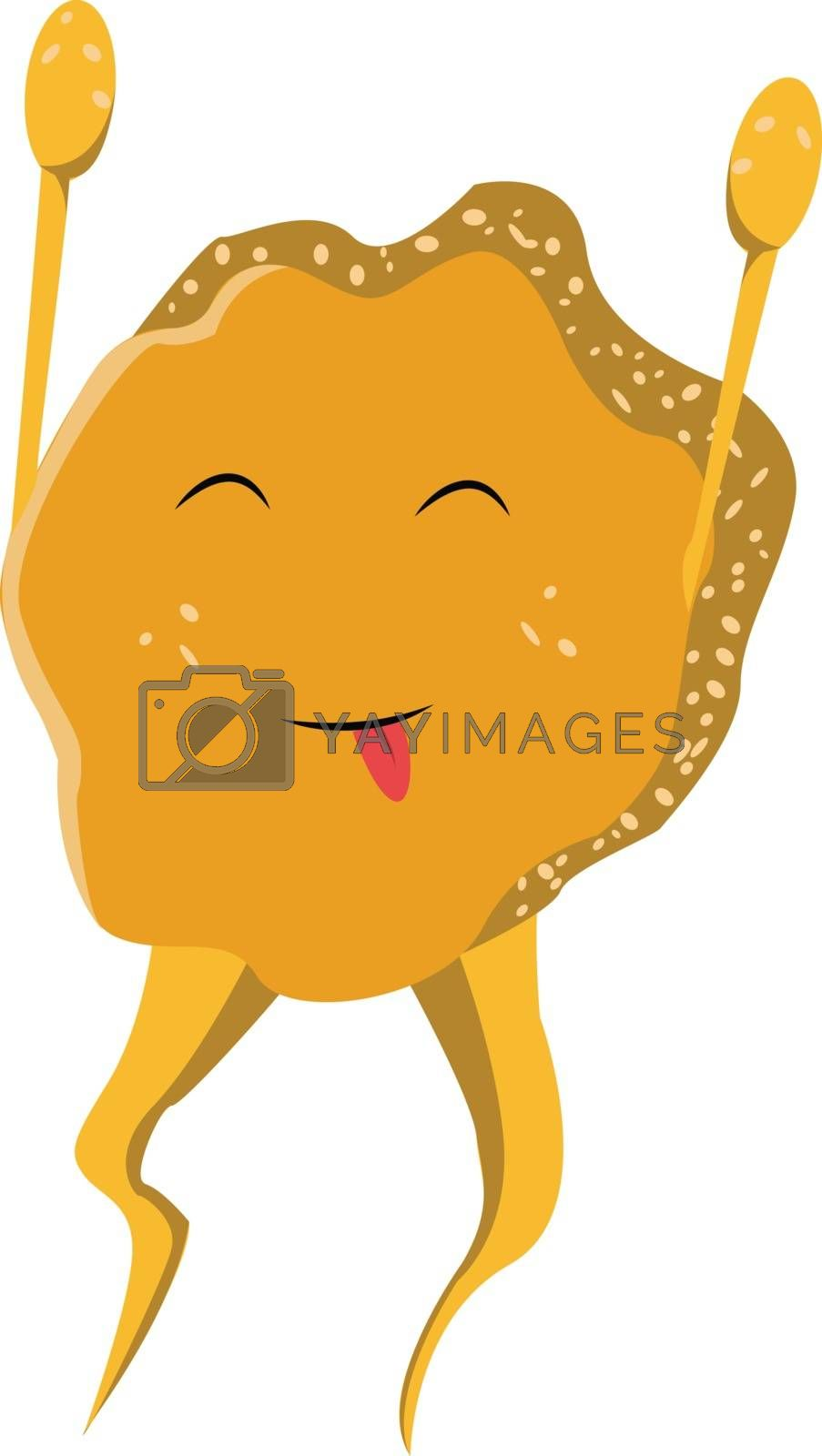 Royalty free image of Cartoon funny happy yellow monster vector or color illustration by Morphart