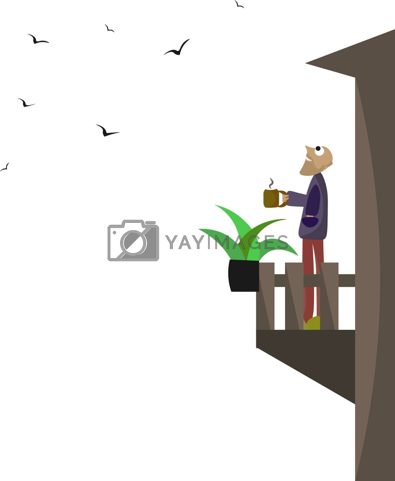 Royalty free image of Portrait of a man holding a cup of hot coffee in the balcony vec by Morphart