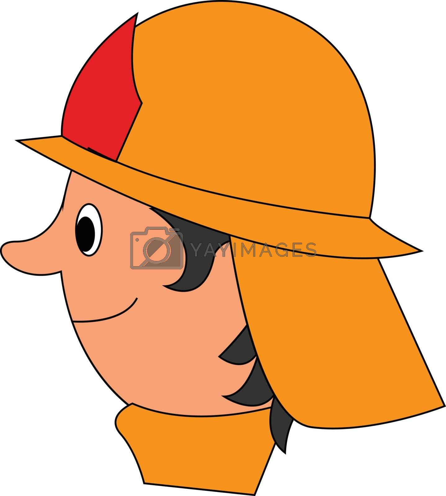 Royalty free image of Cartoon fireman set isolated white background viewed from the si by Morphart