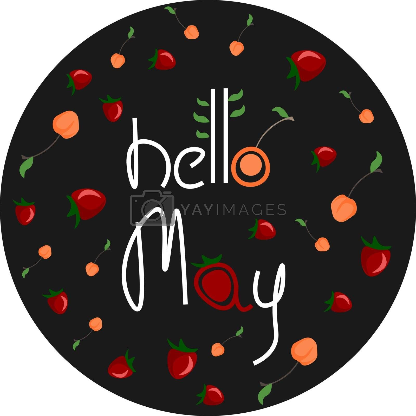 Royalty free image of A colorful fruits ornament engraved with the writing HELLO MAY v by Morphart