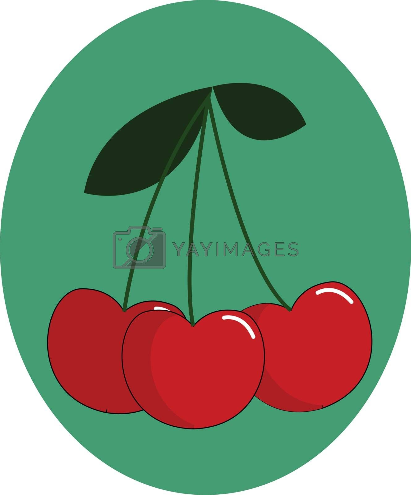 Royalty free image of Portrait of a bunch of cherries over green background vector or  by Morphart