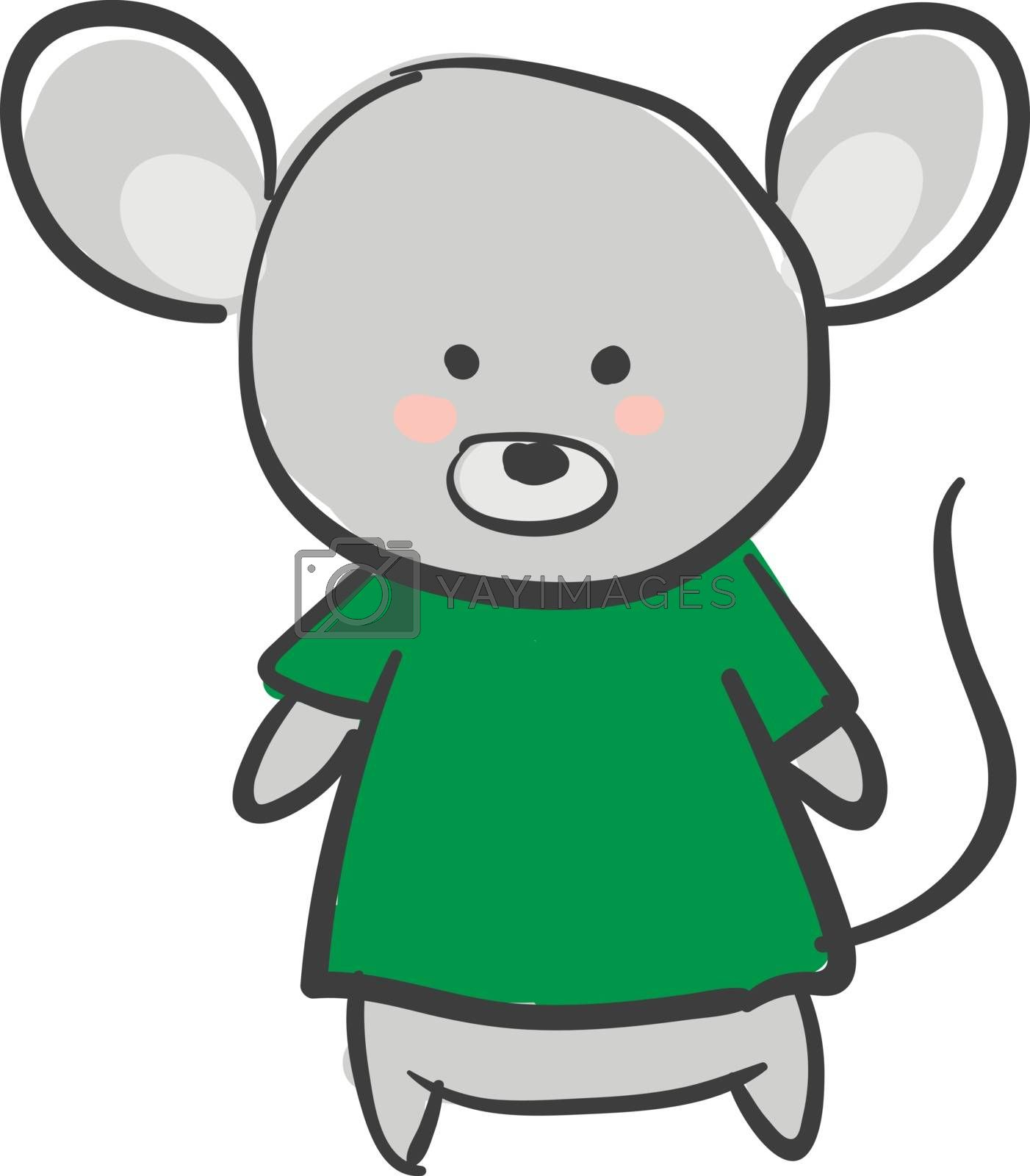 Royalty free image of Drawing of a grey mouse in a green t-shirt vector or color illus by Morphart