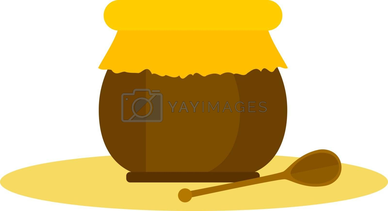 Royalty free image of Clipart of a jar with honey and a honey stick vector or color il by Morphart