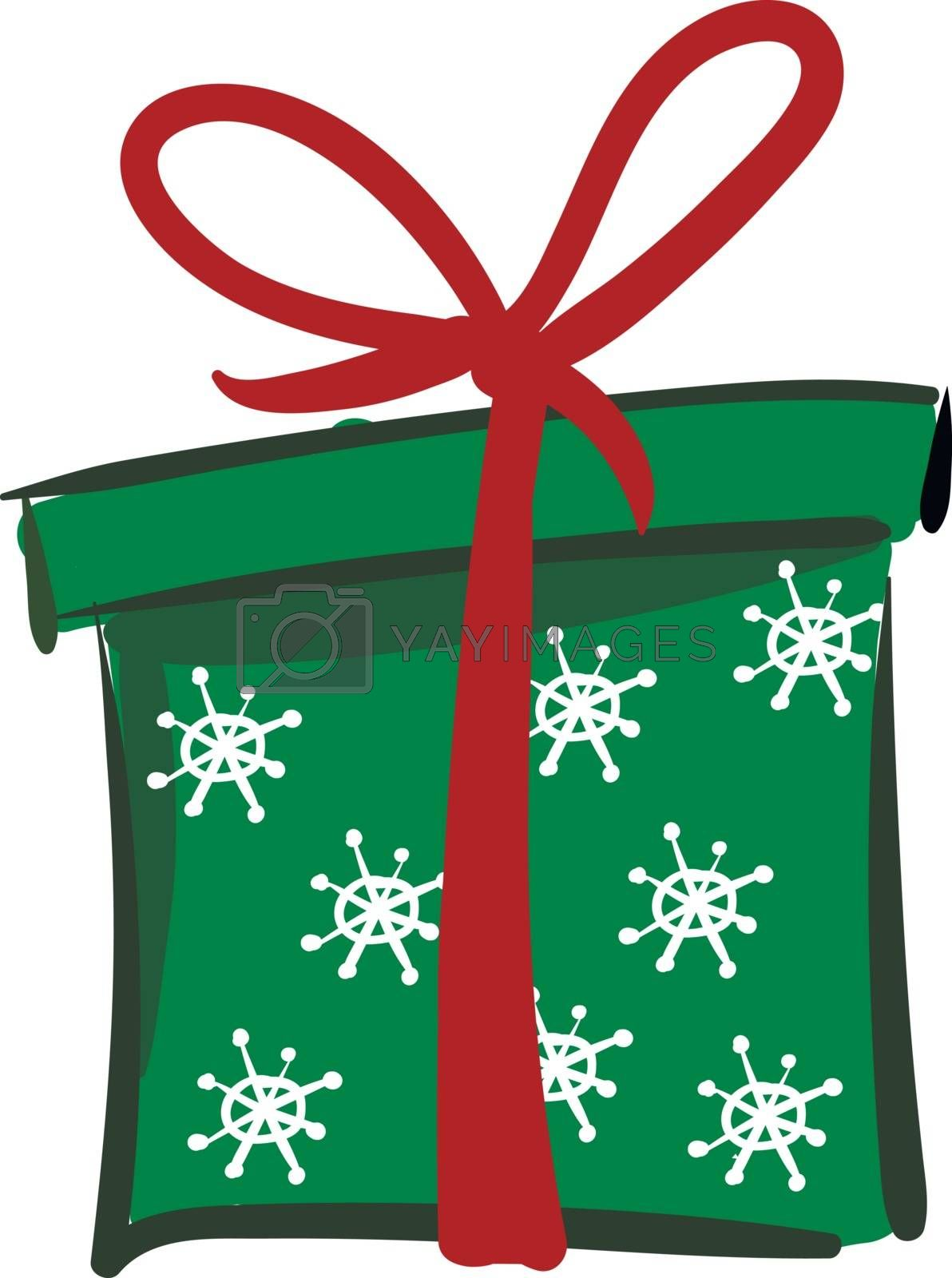 Royalty free image of Painting of a Xmas green gift box vector or color illustration by Morphart