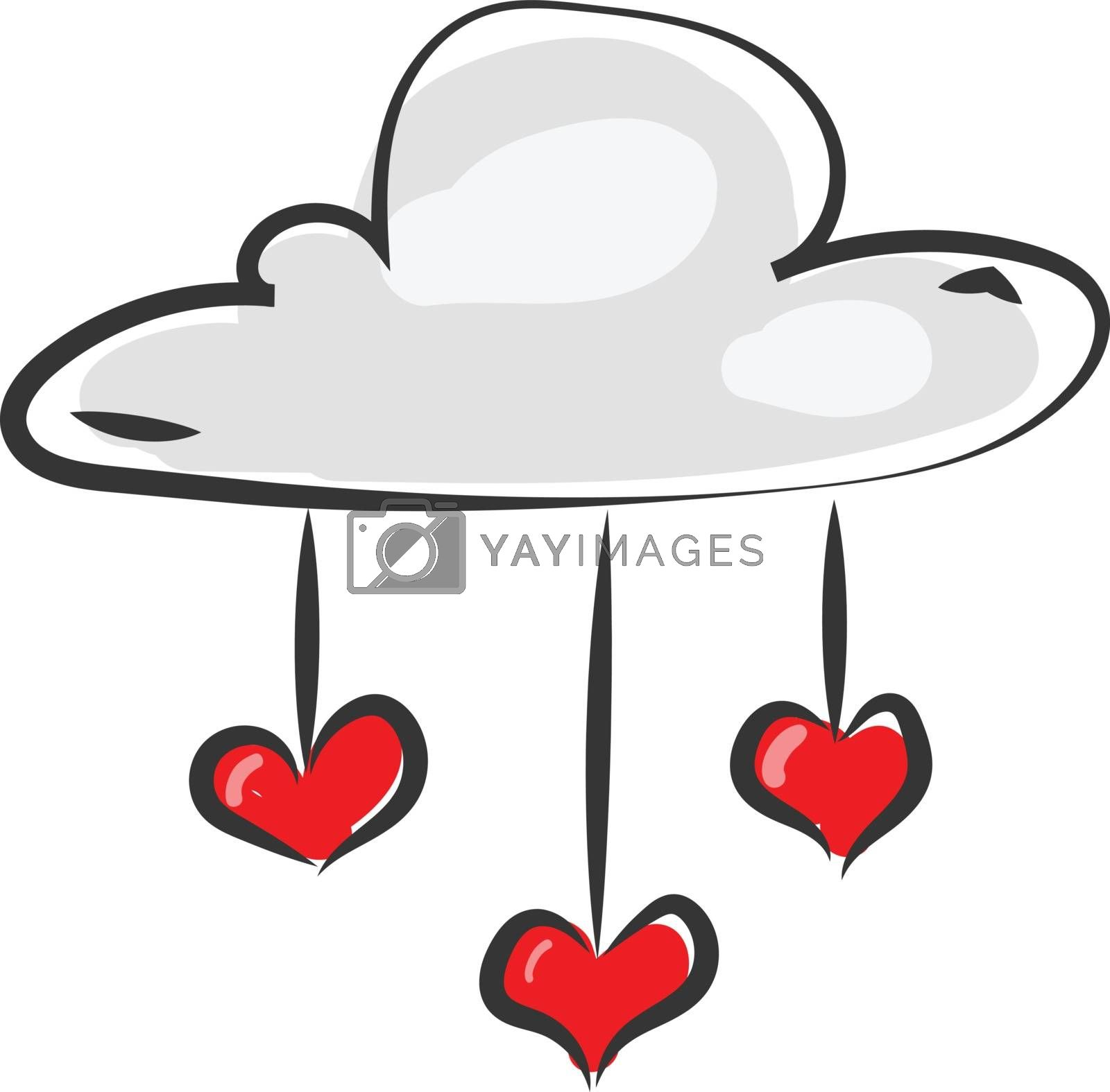 Royalty free image of Painting of a white cloud pouring out red hearts vector or color by Morphart