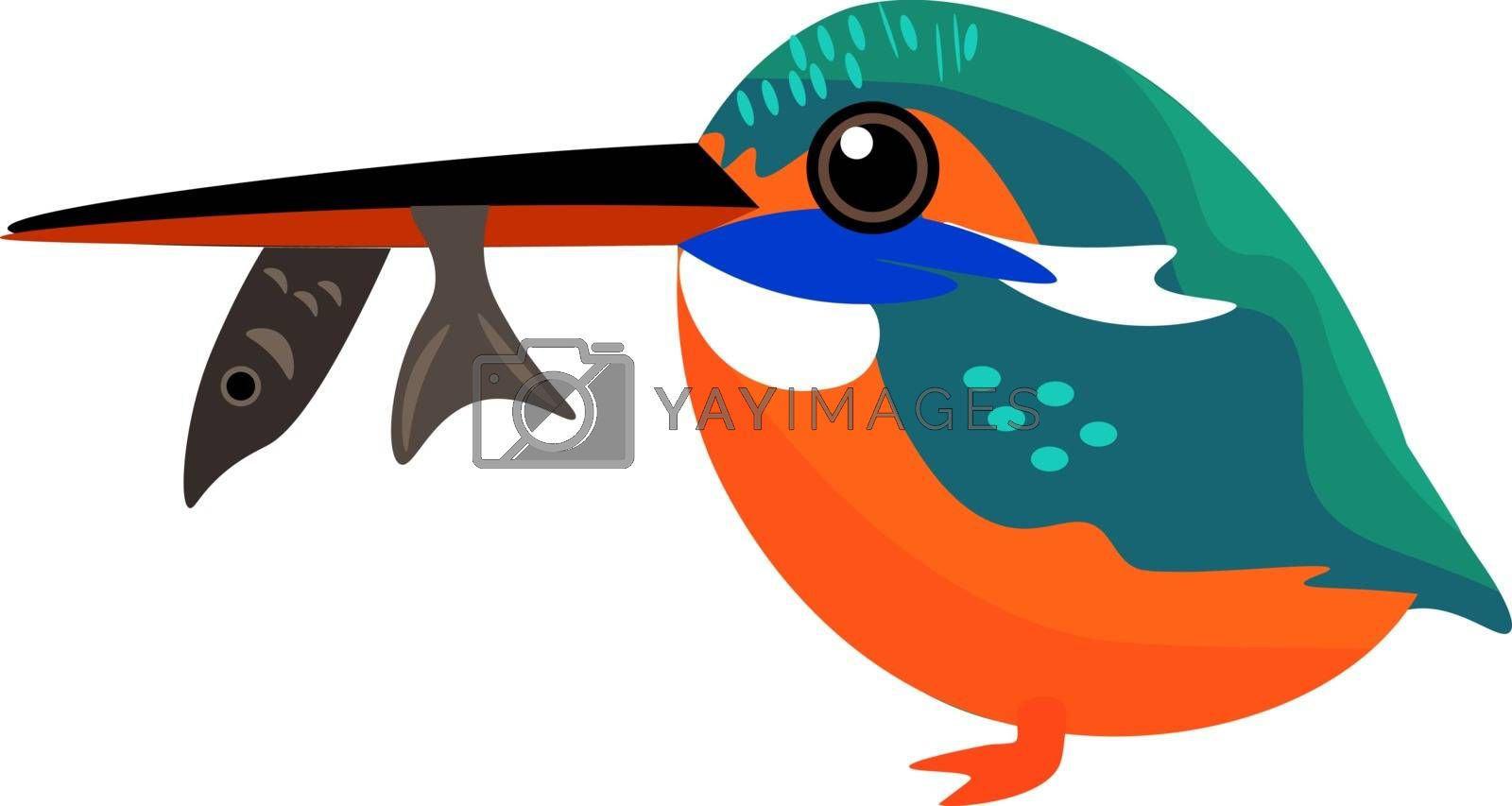Royalty free image of Painting of a colorful kingfisher with a fish trapped in its bea by Morphart