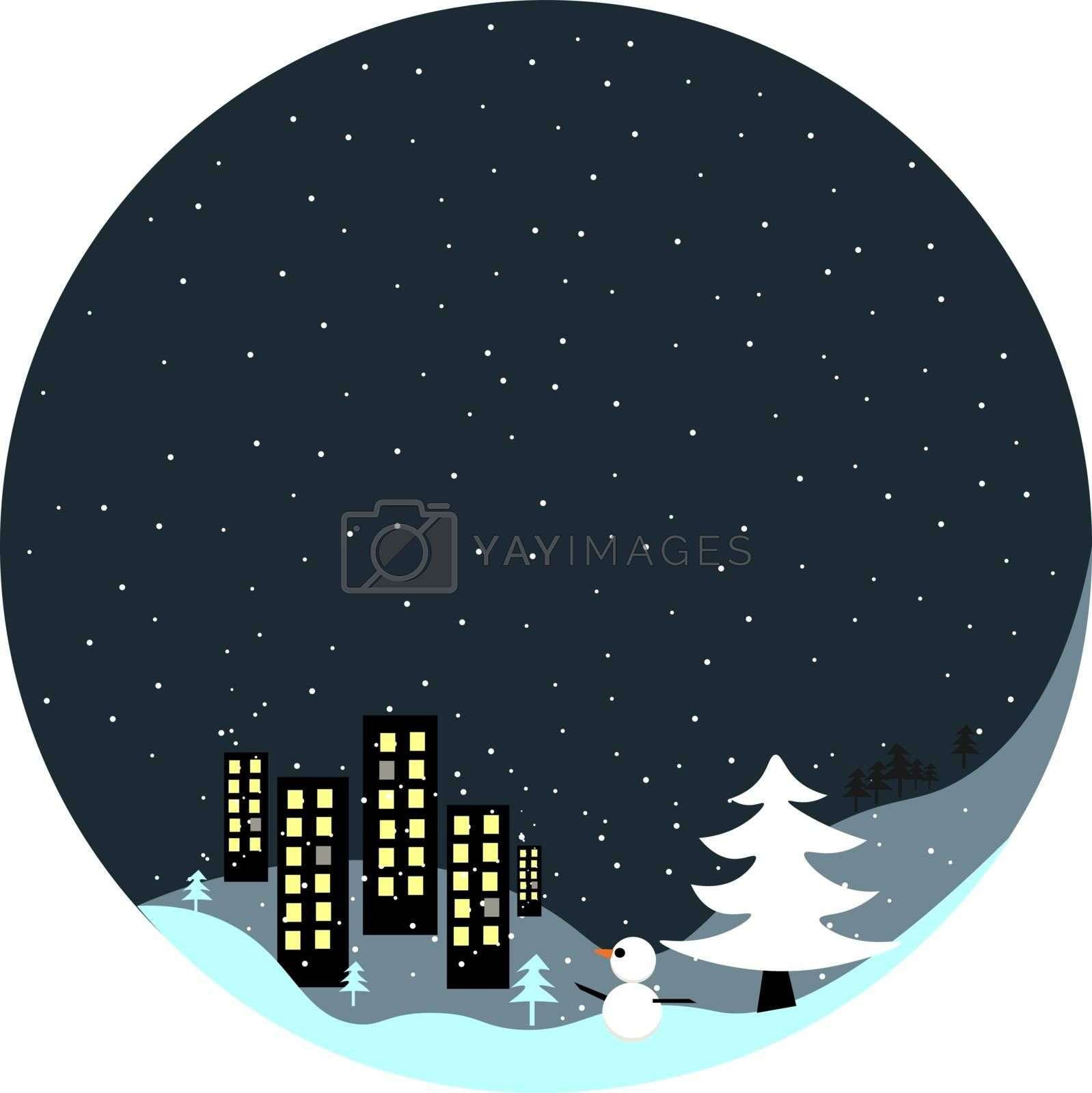 Royalty free image of Portrait of a winter town at night over dark background vector o by Morphart
