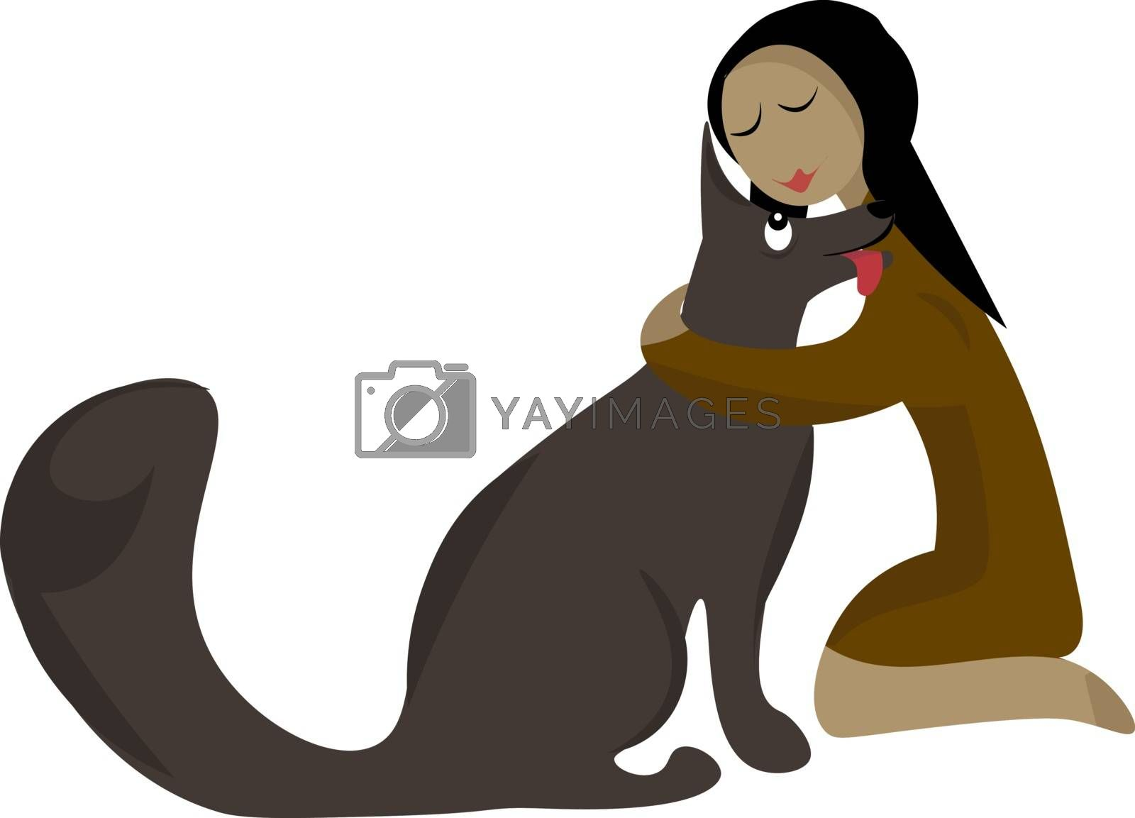 Royalty free image of Clipart of a girl knelt to the ground and hugging a grey dog vec by Morphart