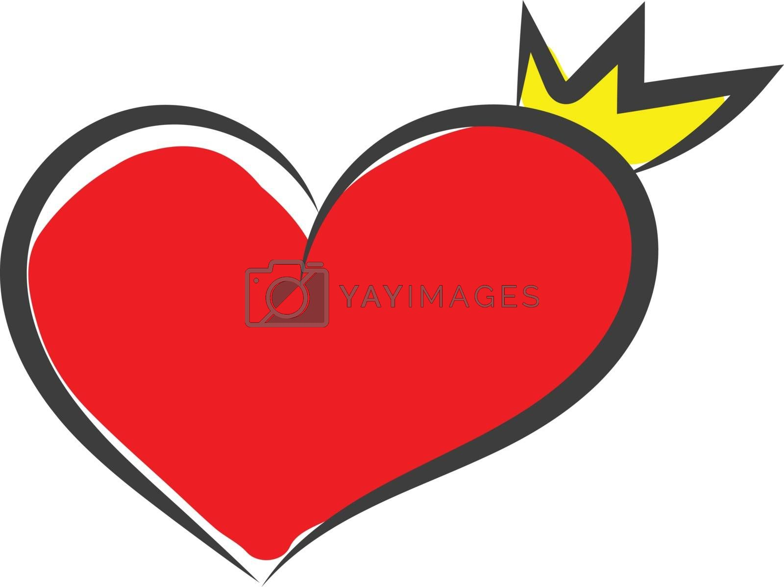 Royalty free image of Sketch of a curvy red heart with a black outline wears a golden  by Morphart