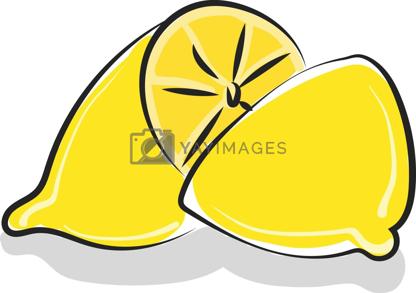 Royalty free image of Clipart of a whole lemon cut into two unequal halves vector or c by Morphart