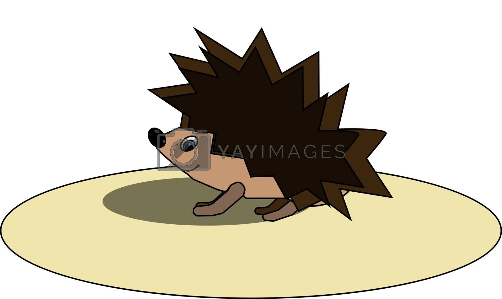 Royalty free image of Cartoon funny hedgehog on a large circular disc vector or color  by Morphart