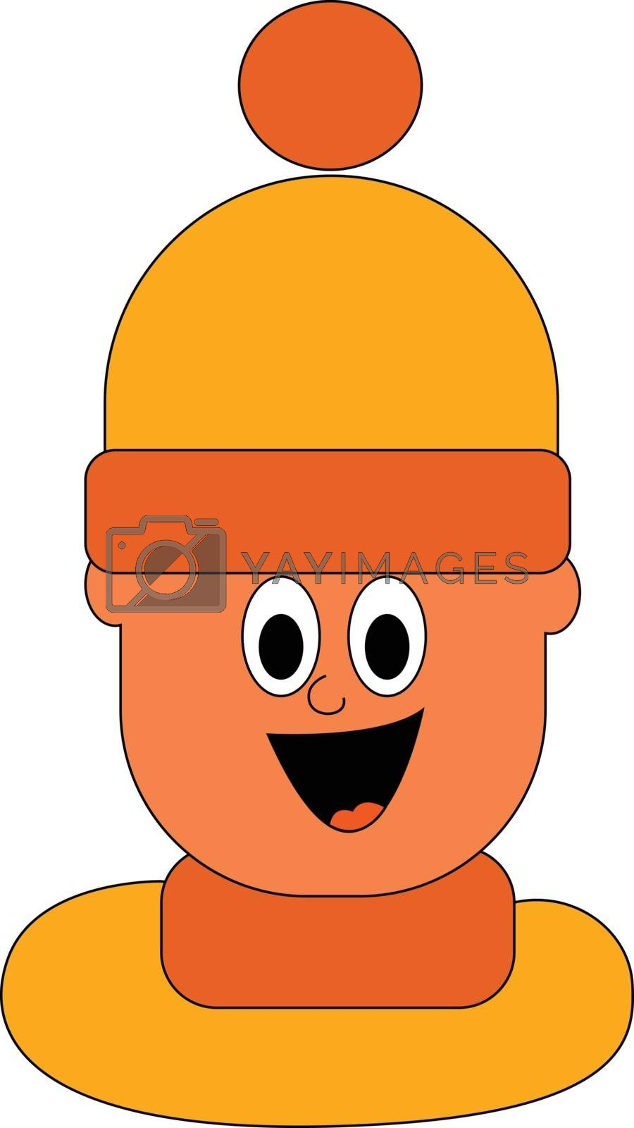 Royalty free image of Cartoon boy in a large orange hat vector or color illustration by Morphart