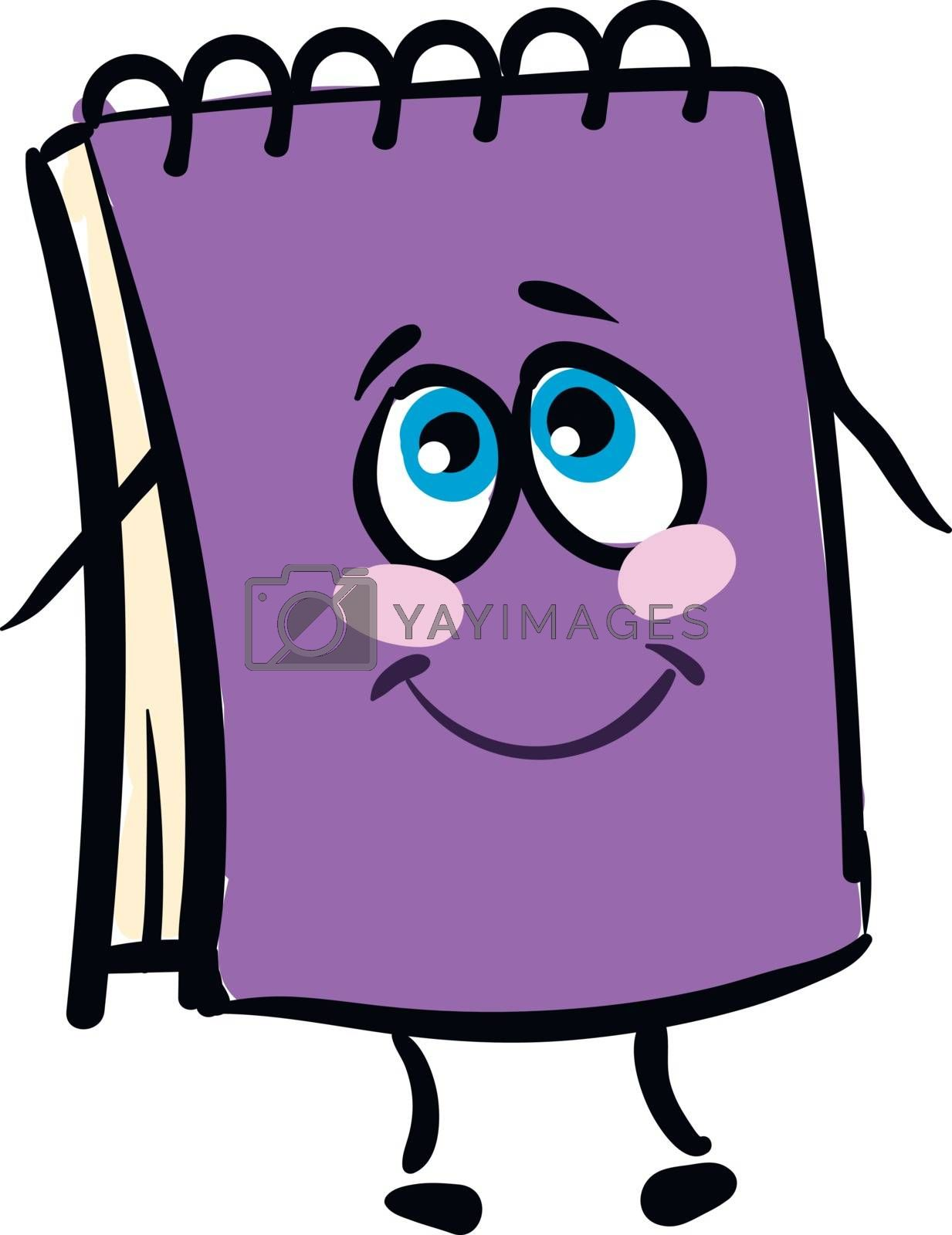 Royalty free image of Emoji funny happy purple-colored wire-bound notebook vector or c by Morphart