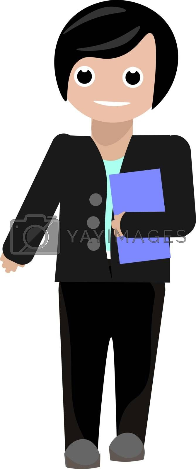 Royalty free image of Painting of an office worker carrying a blue file in his hand ve by Morphart