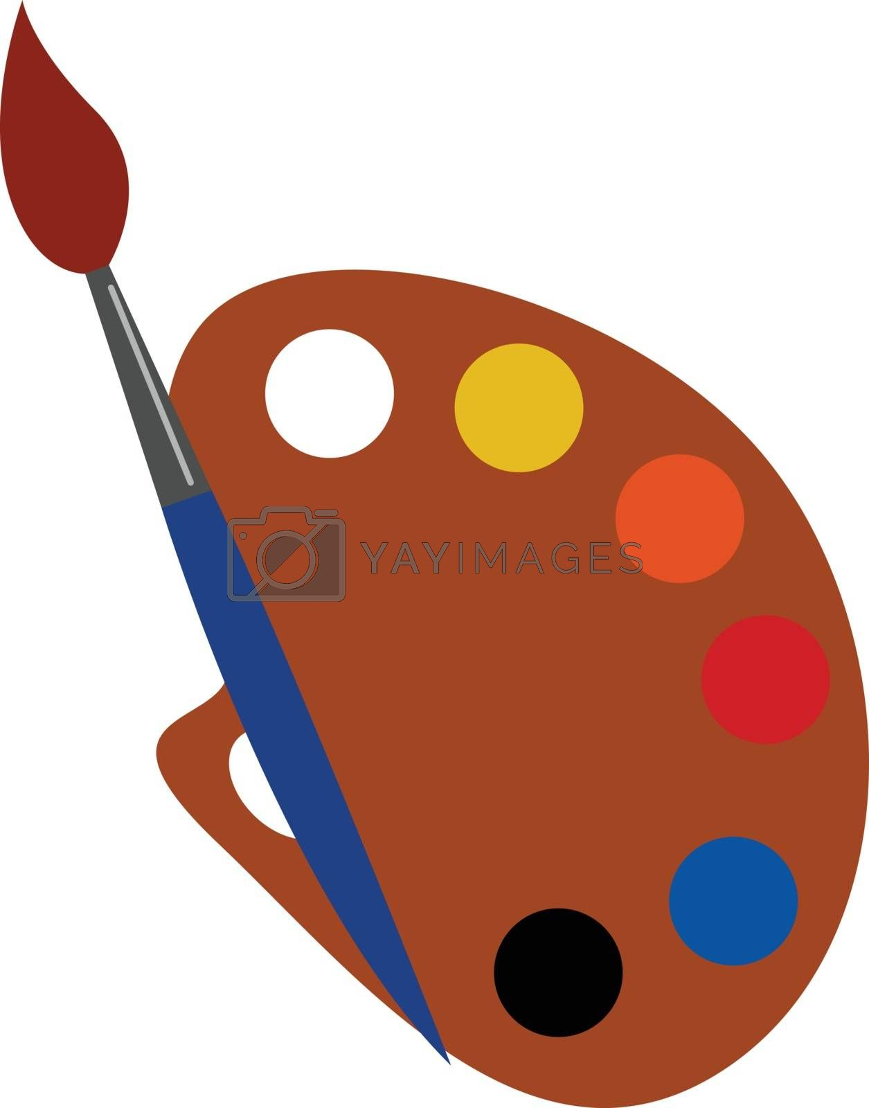 Royalty free image of Cartoon picture of a palette holding multiple paints and a brush by Morphart