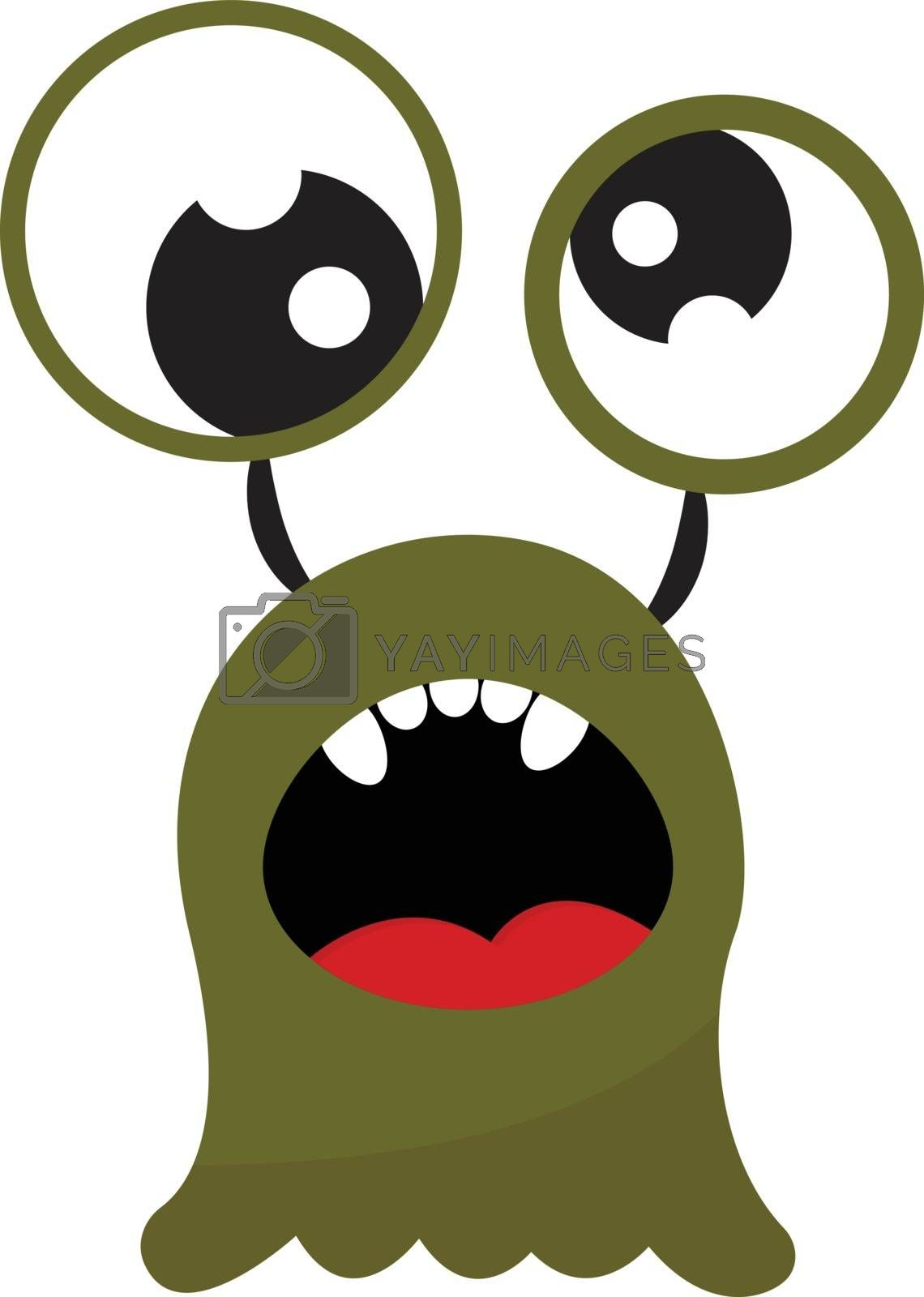 Royalty free image of Cartoon funny green monster with an open mouth exposing five ova by Morphart