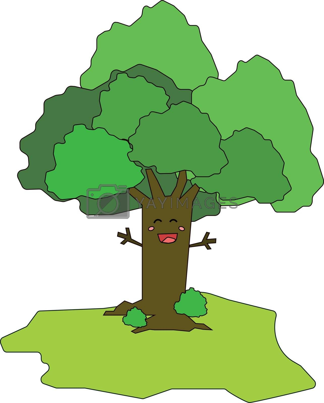 Royalty free image of Cartoon funny happy tree vector or color illustration by Morphart