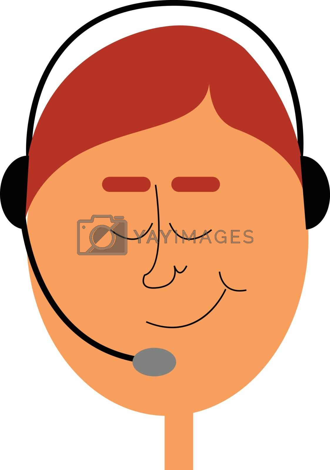 Royalty free image of A telephone operator with his headset/A phone operator vector or by Morphart