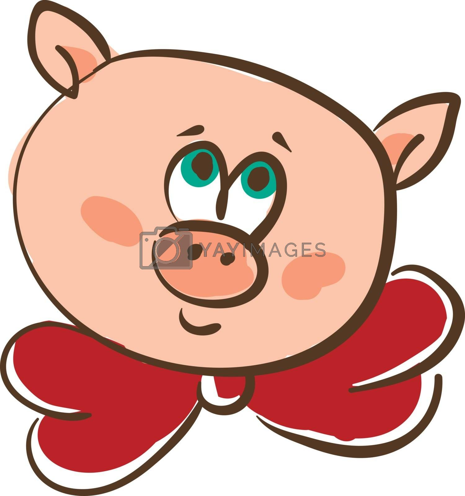 Royalty free image of Drawing of the face of a pink pig in a red-colored neck bowtie v by Morphart