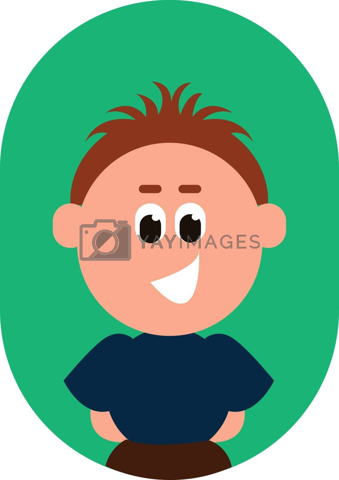 Royalty free image of Cartoon funny boy with black eyes rolled down is laughing set on by Morphart