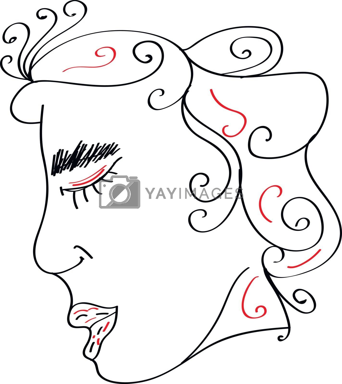 Royalty free image of Line art of a decorative woman vector or color illustration by Morphart